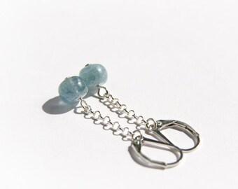 Kyanite Earrings Sterling Silver Earrings Light Blue Kyanite Jewelry Natural Stone Jewelry Elegant Minimalist Earrings Blue Earrings #15294