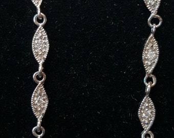 Big Price Reduction  14-K White Gold & Diamond Drop Earrings