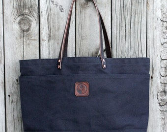 FOURTOWN TOTE BAG | Large Canvas Tote Bag | Leather Straps | Interior & Exterior Pockets | Lifetime Guarantee
