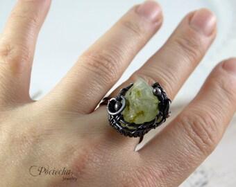 Raw ring, Phrenite copper adjustable ring, statement ring, raw jewelry, phrenite, gemstone ring, green ring, crystal, raw crystal, greenery