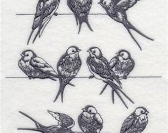 Swallows on a Wire Dish Towel, bird, birds, swallow, Embroidered, Cotton Tea Towel, Made in Montana
