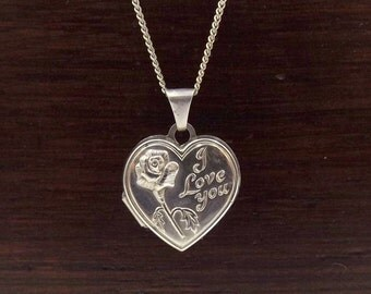 Silver Heart Locket Necklace   Small Rose 'I Love You' Locket On A Long Chain   Locket Pendant