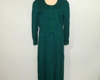 Plus Size 22 Dress Dark Green Dress Long Sleeve Midi Christmas Dress Office Work Dress Fall Winter Dress 2X Petite Womens Vintage Clothing