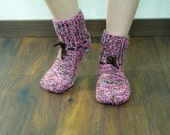 Hand-knitted woolen socks unisex size medium, hand knit socks, wool socks, 7,5-9,5 US