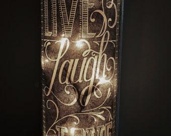 Live Laugh Love Lamp/Chalkboard Label Lamp/Home Decor/Sweet 16 Gift/Girls Dorm Decor/Teen Room Decor/Night Light