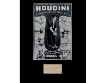 HARRY HOUDINI AUTOGRAPH photo display Magician Illusionist Escape Artist