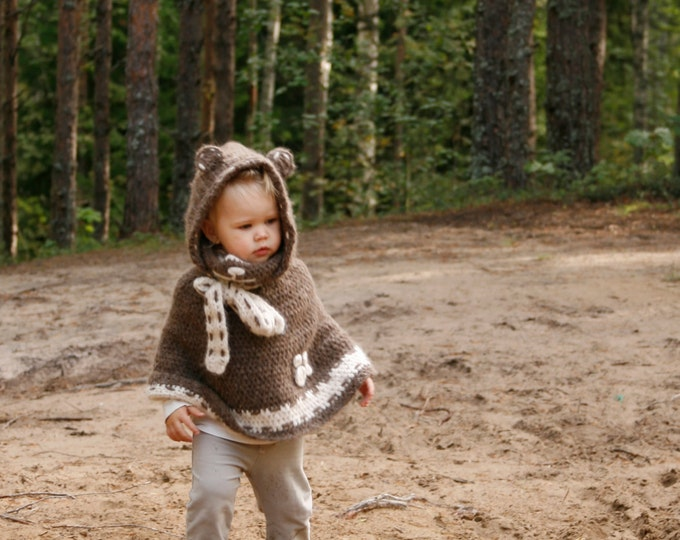CROCHET PATTERN teddy bear poncho Ruben with a hood (toddler/child sizes)