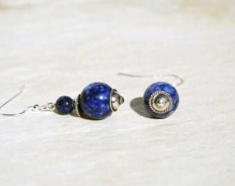 Boho earrings, Lapis Lazuli earrings, Sterling earrings. Blue Lapis silver earrings. Round lapis sterling silver earrings, blue earrings