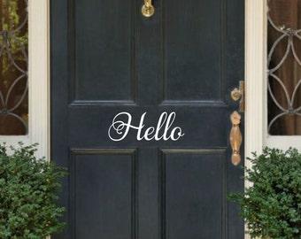 Hello Vinyl Decal Hello Door Decal Front Door Decal Hello Decal Hello Door Vinyl Door Decal Door Sticker Hello Decal For Door
