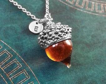 Acorn Necklace Acorn Jewelry Glass Acorn Charm Necklace Silver Acorn Pendant Necklace Squirrel Jewelry Nature Jewelry Custom Initial Jewelry