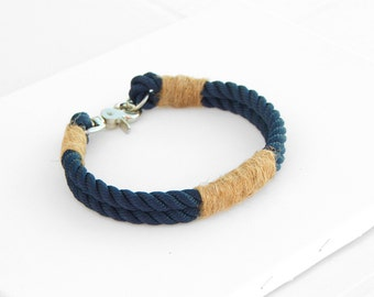 Blue Rope dog Collar. Nautical rope Collar whipped with Hemp String. Navy Style dog Collar.
