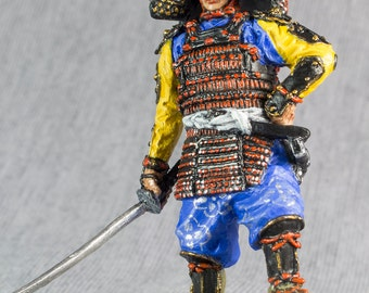 Japanese Samurai Toy Soldiers with Katana 1/32 Scale Hand Painted 54mm Toy Soldiers Collection Tin Metal Miniature Figurine