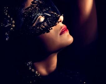 Womens Metal Mask for Venetian Masquerade Celebrations