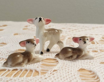 3 Vintage Miniature Deer Figurines, collectible woodland animal miniatures, porcelain figurine