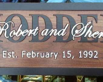 Personalized Family Signs, Last Name, Established Sign, Wood Family Custom Sign, 5th Anniversary Gift, personalized Family name sign BR12