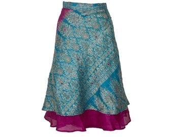 Wrap Skirt, Pink Skirt, Long Skirt, Embroidered Skirt, Boho Skirt, Plus Size Skirt, Wrap Skirt, Sari Skirt, Silk Skirt, Silk Wrap,