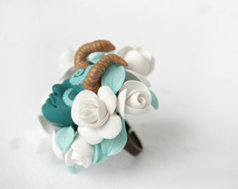 Mint and White Faunus Flower Ring, Fairy Flower Ring, Face Ring, Magic Jewelry,  Artisan Jewelry,  Miracles, Wonder, Fairy Tale