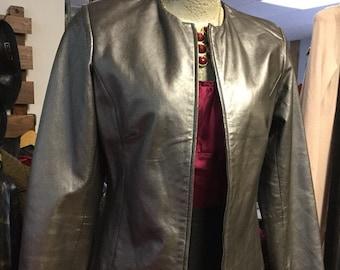 Vintage Silver Metallic Leather  80s 90s Jacket