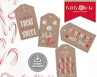 Christmas Cookie Tags - Holiday Treat Tags - Holiday Recipe Tags - Printable Christmas Gift Tags - Gift Labels - Instant Download