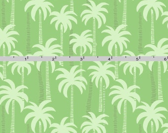 Palm Tree Fabric, Lewis & Irene Tropicana A132.3, Green Tropical Fabric, Palm Trees Quilt Fabric, Tropical Cotton Quilt Fabric