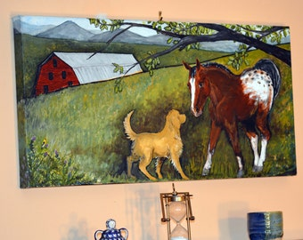 "Farm Friends Original Acrylic Painting, 30"" x 15"" x 1.5"" Ready to Hang, golden retriever dog and appaloosa horse meeting in a farm field"