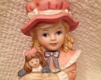 Homco Girl Figurine Victorian, Little Girl With Doll Figurine, Homco #1419