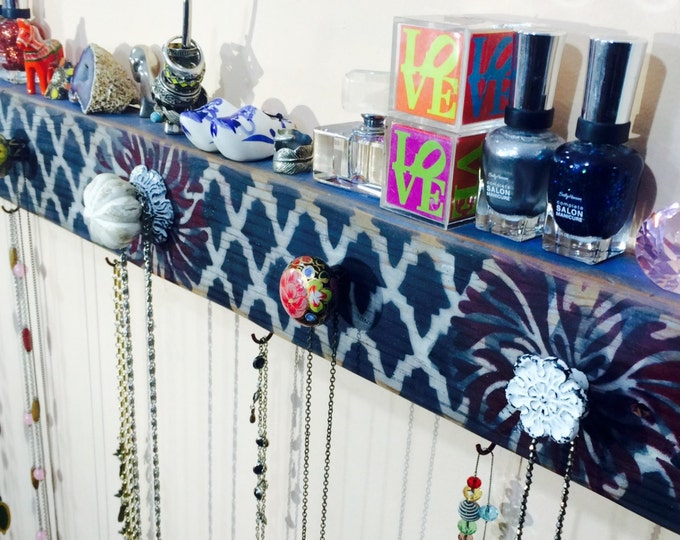 Made to order jewelry storage / jewellry holder /necklace wall organizer hanger /reclaimed wood hanging scarf rack 5 knobs 6 red hooks