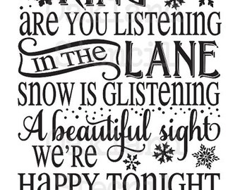 """Primitive Winter STENCIL**Sleigh bells ring...Winter Wonderland** 12""""x24"""" for Painting Signs, Christmas, Holiday, Airbrush, Crafts, Wall Art"""