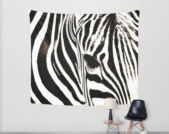 Zebra Room Decor, Zebra Print Decor, Black And White Tapestry, Zebra Decor,