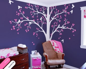 Large White tree decal Corner Tree wall decal Stickers Huge Wall Decals Wall Art Tattoo Wall Mural Decor - 086