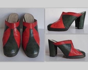 70s Vintage Platform Shoes // Green And Redbrown // Size 37