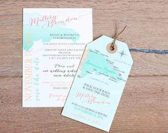 Wedding invitation Punta Cana Save the Date Magnet Luggage Tag and Information card SET- Design Fee. Destination Wedding