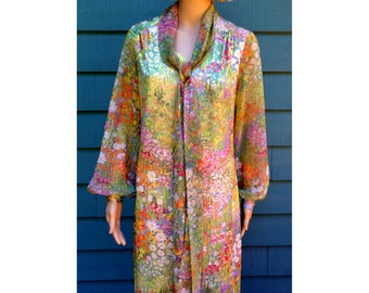 Vintage 1970's Pastel Impressionist Floral Pattern Design Dress W/ Balloon Sleeves Easy Care Machine Washable Size 12 Med/Lg