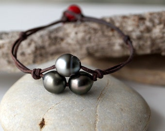 Tahitian pearls, australian leather, woman bracelet, coral bambou as clasp