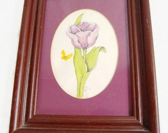 Vintage Carol Morrison 1978 Signed Hand Watercolored Flower Art Framed Whimsical