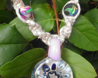 Abstract Glass Pendant 18 Inch Length Hemp Macrame Necklace with Handmade Glow in the Dark Rainbow Swirl Beads / Heady Glass Pendant / hemp