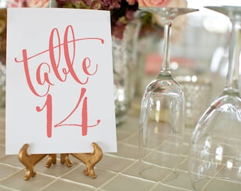 Printable Coral Wedding Table Numbers ⋆ #1 50 DIY Table Number Cards ⋆ Coral