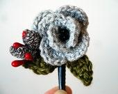 Crochet Flower Hair Clip, Crochet Rose Fall Hair Accessories or Winter Hair Accessories Set - Holiday Hair Accessory