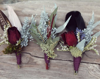 custom boutonniere, feather boutonniere, dried flower boutonniere, red rose boutonniere, rustic boutonniere, boutonniere set, autumn wedding