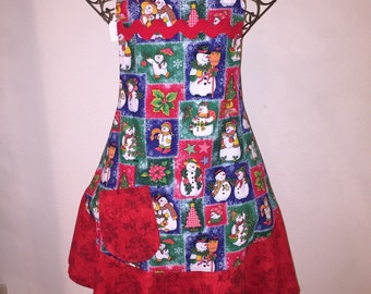 Women's Large Christmas Snowman Apron Red Green Blue