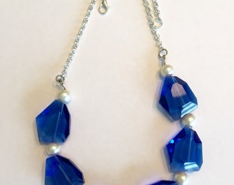Blue Chunky Crystal Necklace Royal Blue Jewelry