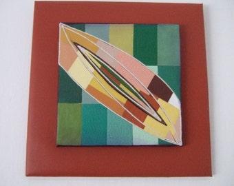 Laurel Leaf original mixed media abstract wall art