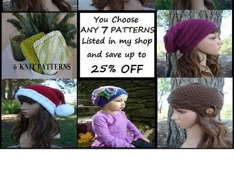Design Your Own Discount Pattern Package, Save up to 25% OFF your patterns, You CHOOSE ANY 7 Patterns Listed In My Shop