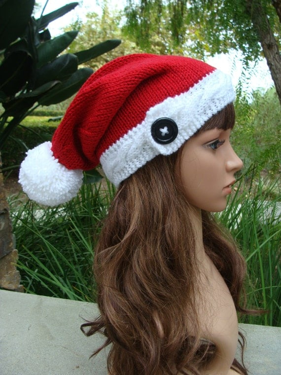 PATTERN 50: Santa Cable Band Knit Hat with Button and