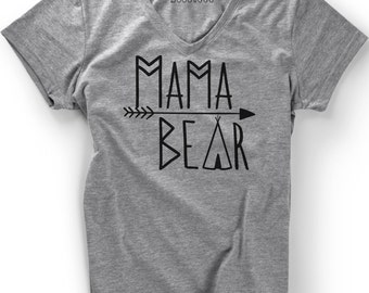 Mama Bear V-neck Soft Triblend  Mothers Day Shirt T Shirt Tee Women Ladies Gift Present New Mommy Baby Shower Pregnancy Momma  Mom REveal
