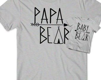 Papa Bear Baby Bear Matching Shirts Set Fathers Day Gift Idea T-Shirt Tee Infant New Toddler Child Kid Gift New Dad Baby Shower Pop Dad Cub