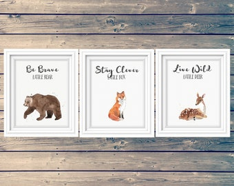 SET OF 3 woodland nursery art prints, bear, fox, deer kid's signs, clever little fox, brave little bear, adventure theme, instant download