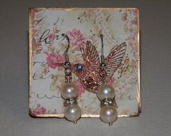 Seashell Pearl Earrings (8 mm beads)