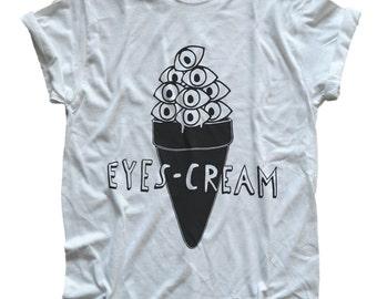 Eyes-Cream Illustration Tee Shirt T-Shirt  S, M, L, XL Shirt white or natural colored