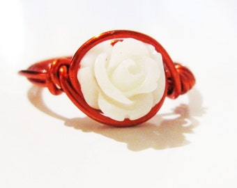 Ivory Rose Ring. Red Wire Wrapped Ring. Dainty Flower Ring. Gift for Her. Gift for Girls. Made in Canada.